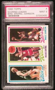 Rookie card of Magic Johnson and Larry Bird
