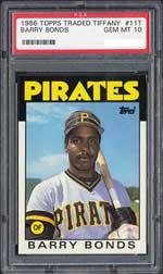 One of Bonds' toughest cards, a PSA 10 1986 Topps Tiffany
