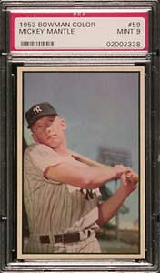 1953 Bowman Color Mickey Mantle 059 PSA MINT 9