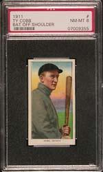 1911 T206 Ty Cobb Bat Off Shoulder PSA NM-MT 8