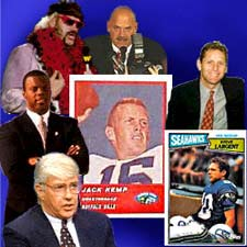 Prominent athletes who have become successful politicians --(TOP) Jesse 'The Body' Ventura as wrestler and governor of Minnesota,(RIGHT)Steve Largent, fifth all-time NFL Reception leader and Okla. representative,(LEFT) J.C. Watts, former Univ. of Okla. quarterback turned politician, and perhaps the most prominent, Sen. Jack Kemp, NFL MVP quarterback,  who has had sights set on the presidency as well.