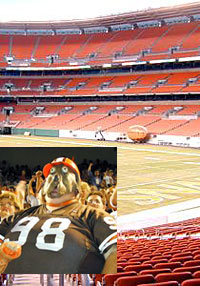 The Brown's stadium and a member of the infamous Dawg Pound.