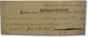 1890 NY Giants cancelled check