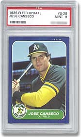 The absence of a corrected card makes this 1986 Fleer Update Jose Canseco #20 card a standard card.