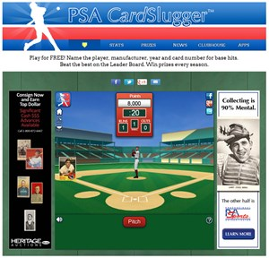 The 'home plate' view of the free and fun PSA CardSlugger™ game now available online at www.psacard.com/games/