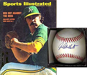 A <i>Sports Illustrated</i> featuring Catfish Hunter, and a Hunter-signed baseball.