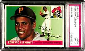 The difference between this 1955 Topps #164 Roberto Clemente<br>in PSA NM 7 and the same card<br> in NM-MT 8 is about $2650.