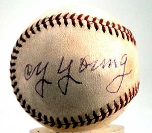 Cy Young autographed ball