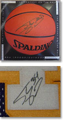 An example of an authentic Shaquille O'Neal autograph (top), and a fake one (bottom).