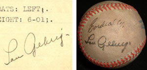 The Lou Gehrig signature on the left is authentitic; the one on the right is fake.