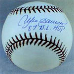 An Andre Dawson signed baseball -- a great item, but he was overlooked by the HOF