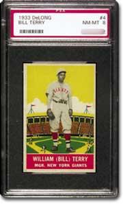 1933 Delong Bill Terry PSA NM-MT 8.