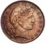 This originally toned Barber half dollar has even and <i>deep</i> coloring.