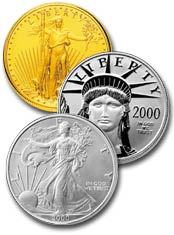 American Eagle Gold, Platinum and Silver Bullion coins.  Gold and Platinum are available in four denominations: one ounce, one-half ounce, one-quarter ounce, and one-tenth ounce while the silver bullion coin is only available in the one ounce size.