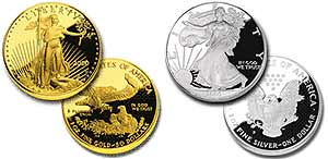 American Eagle Gold and Silver Bullion, obverse and reverse views