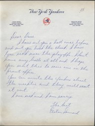 Elston Howard Handwritten Letter