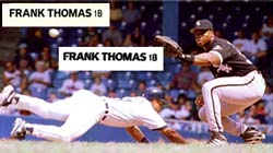 Knowing what the real thing helps, but poor reproduction of text should be <br>a major tip-off that you're dealing with a fake.<br> Can you tell<br> which of the two samples from Thomas' Rookie card is real?