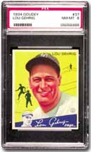 1934 Goudey Lou Gehrig, PSA Graded NM-MT 8.