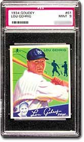 1934 Goudey Lou Gehrig #61, PSA Graded Mint 9.