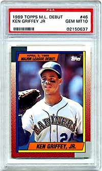 Though it is an attractive card, Griffey's 1989 Topps Debut in PSA 10, has remained at $325 this year.