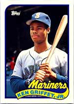 Though this 1989 Griffey Topps Traded in PSA 10 has dipped slightly in value, it is a good value, currently worth $300.