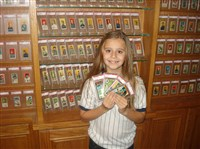 Hagberg's nine-year old daughter, Emily, loves to collect old players and cards - although she considers cards and players from the 1980s to be old relics.