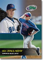 Toronto's Roy Halladay started and completed the most games, earning the records for most innings pitched and the most games won.