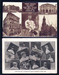 1910 Pittsburgh Gazette Times Wagner Postcard and a 1908 Team postcard with Wagner
