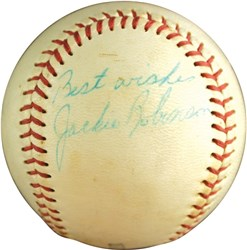 Jackie Robinson Single Signed Little League Baseball Inscribed 'Best Wishes' PSA/DNA LOA