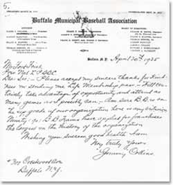 Jimmy Collins signed letter on Buffalo Municipal letterhead