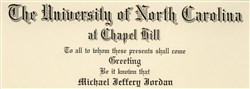 Michael Jordan's 1986 University of North Carolina diploma is one of the basketball superstar's historic college-era items that will be displayed at the Long Beach Coin, Currency, Stamp & Sports Collectible Expo, January 30 - February 1, 2014.  (Photo courtesy of Goldin Auctions.)