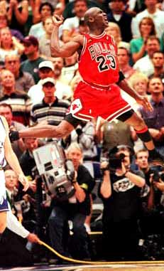 Jordan celebrates his finest moment.