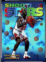 A 1997 PSA Mint 9 Topps Michael <br>Jordan Refractor card, at auction on <br>Sports Universe through 9/2/99.