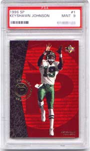 A 1996 SP Keyshawn Johnson #1 in Mint 9.