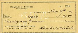 1947 personal cancelled check