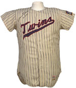 Flannel jerseys, like this Killebrew jersey, are considerably more popular than knits.