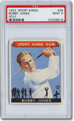 A superb Bobby Jones card, graded PSA Mint 9, was among the 48 cards in the 1933 Goudey Sport Kings set that recently changed hands for $360,000, a record price for any intact sports card set, according to Joe Orlando, President of Professional Sports Authenticator (PSA).