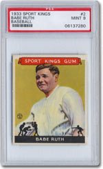This Babe Ruth card, graded PSA Mint 9, is part of the 48-card 1933 Goudey Sport Kings set that recently sold for a record price of $360,000, the most money ever paid for any intact sports card set, according to Joe Orlando, President of Professional Sports Authenticator (PSA).