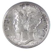 1916-D Mercury Dime PCGS MS65FB sold for $27,025