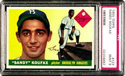 An outstanding Mint 9 1960 Topps Sandy Koufax<br>#343 is currently being offered in Lot 28 of the Superior Spring auction.