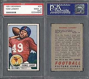 Landry's 1951 Bowman #20 rookie card