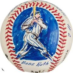 1995 Babe Ruth Original Baseball Artwork by LeRoy Neiman