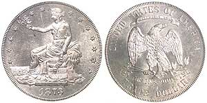 The 1873-CC Trade Dollar is one of the great rarities from the Carson City Mint