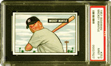 By far the most valuable post-war rookie card<br> is the 1951 Bowman Mickey Mantle #253, currently valued at $55,000.