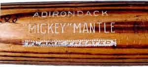 Mickey Mantle game-used white letter Adirondack bat fromt he 1950s