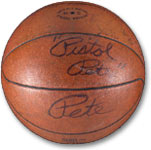 The ball Pete Maravich used to break Robertson's NCAA career scoring record brought $36,094.