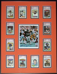 Michelin used the same framing concept he created for his Fleer set to present his set of Walter Payton cards.