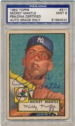 Mickey Mantle Signed 1952 Topps Card