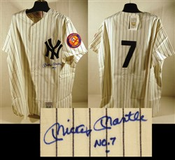 Mickey Mantle signed replica jersey