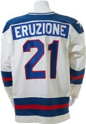 Mike Eruzione's 1980 'Miracle on Ice' game worn jersey (back)